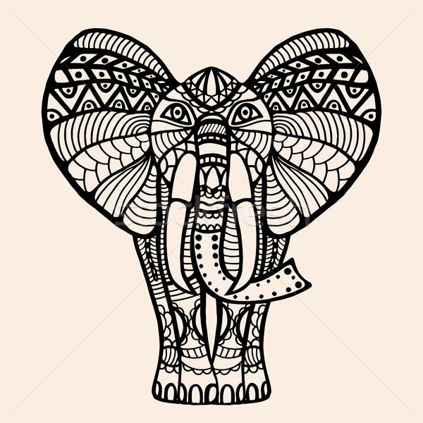 Foto stock: Decorado · indiano · elefante · vetor · hena · tatuagem