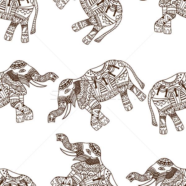 Stock fotó: Elefántok · végtelenített · absztrakt · vektor · minta · indiai