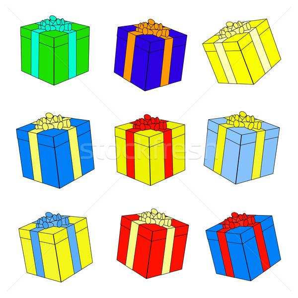 Ajándékdobozok íjak szalagok szett színes vektor Stock fotó © frescomovie