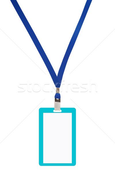 Blank badge with blue neckband. Vector illustration Stock photo © frescomovie