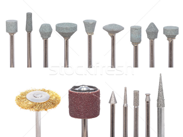 Set of variety of die grinder stones on a white background Stock photo © frescomovie