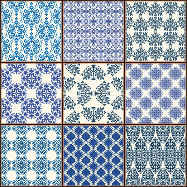 Csempék padló dísz gyűjtemény kék káprázatos Stock fotó © frescomovie