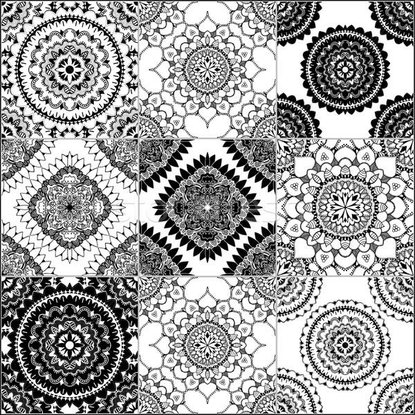monochrome geometric seamless patterns Stock photo © frescomovie