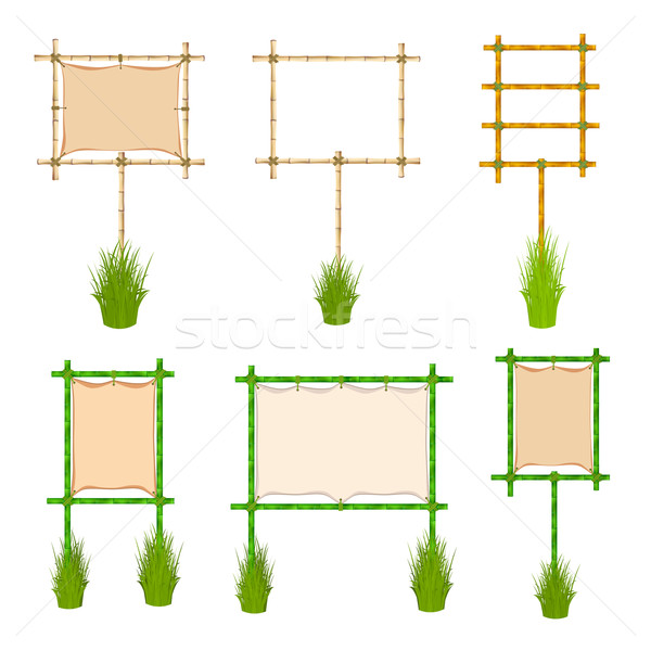 Bambu çerçeve ayarlamak örnek yalıtılmış beyaz Stok fotoğraf © frescomovie
