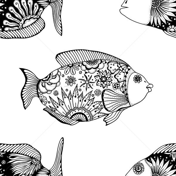 Peixe vetor floral elementos Foto stock © frescomovie