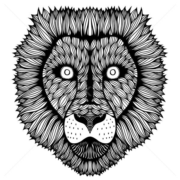Stock foto: Stilisierten · Tiger · Gesicht · Hand · gezeichnet · Doodle · isoliert