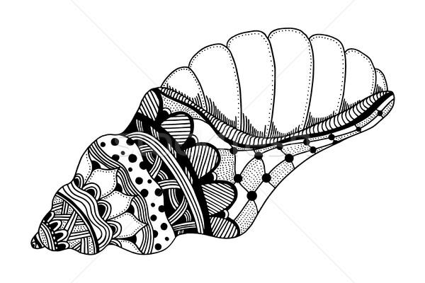 Kézzel rajzolt tenger kagyló stilizált fekete vízi Stock fotó © frescomovie