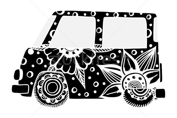 Hippie vintage car a mini van. Stock photo © frescomovie