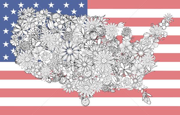 Foto stock: Mapa · Estados · Unidos · flores · negócio · cidade · crianças