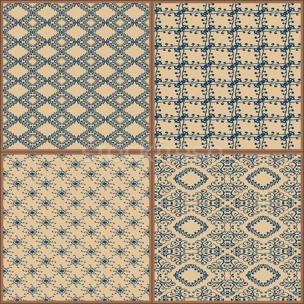 плитки полу орнамент коллекция синий великолепный Сток-фото © frescomovie