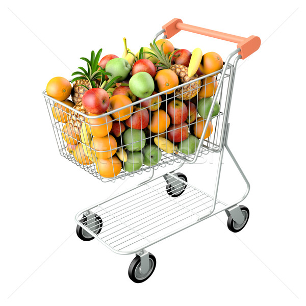 Winkelwagen vruchten hoog 3d render geïsoleerd witte Stockfoto © frescomovie