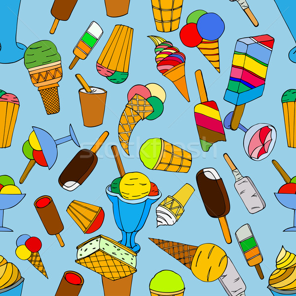 Seamless pattern with ice cream Stock photo © frescomovie