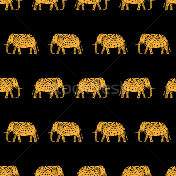 Minta indiai elefántok vektor kézzel rajzolt firka Stock fotó © frescomovie