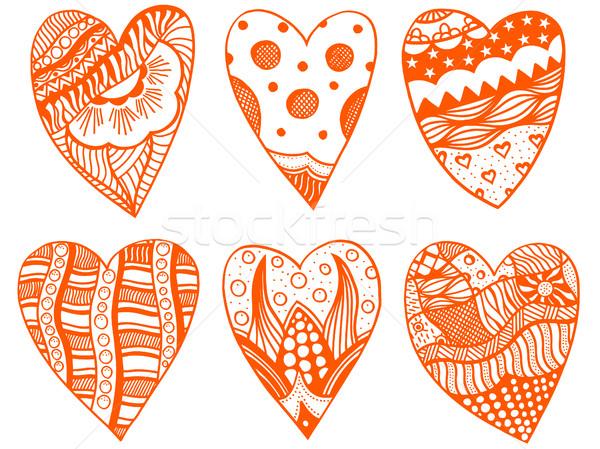 set of hand drawn hearts Stock photo © frescomovie