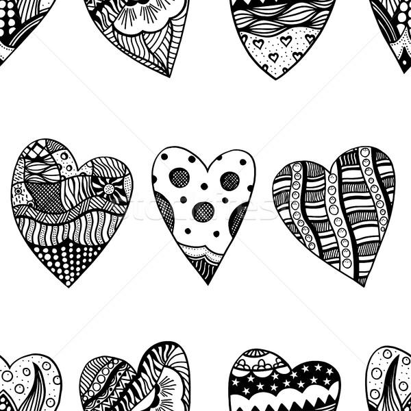 Harten hart liefde doodle Stockfoto © frescomovie