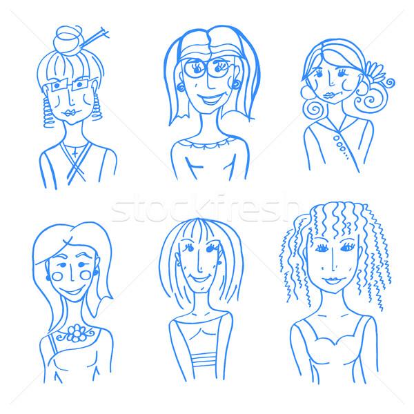 hand drawn doodle faces Stock photo © frescomovie