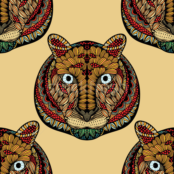 Colored Seamless Tiger pattern. Stock photo © frescomovie
