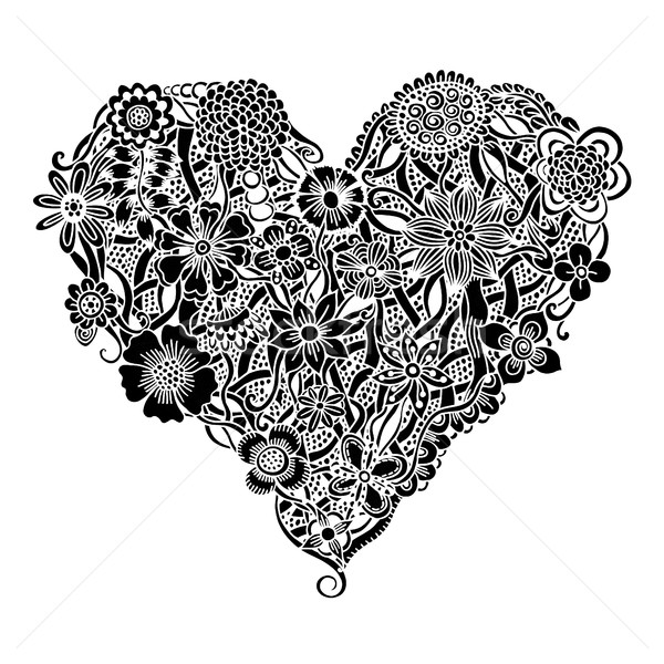 Floral heart Doodle Stock photo © frescomovie