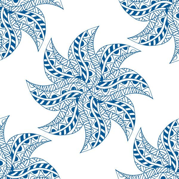 Végtelen minta vektor végtelenített kék minta kézzel rajzolt Stock fotó © frescomovie