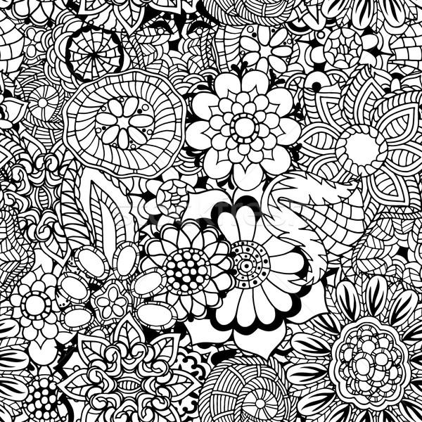 цветочный болван шаблон книжка-раскраска этнических ретро Сток-фото © frescomovie