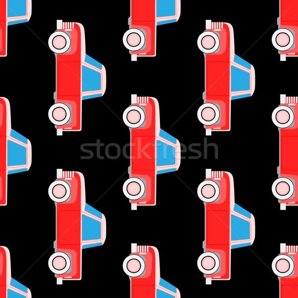 Stock fotó: Végtelenített · vektor · minta · autók · aranyos · autó