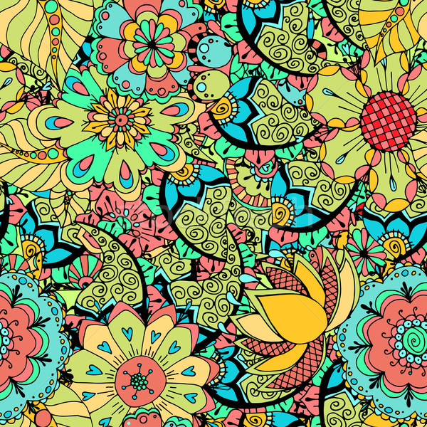 Sin costura floral patrón dibujado a mano textura arte Foto stock © frescomovie
