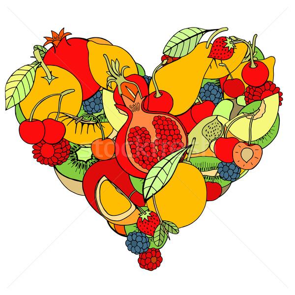 Zdjęcia stock: Serca · zdrowych · owoców · Berry · eco · szkic