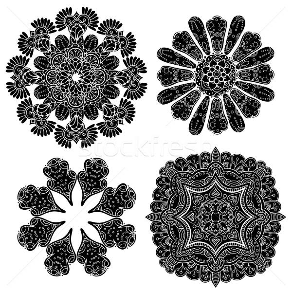 Géométrique circulaire ornement résumé noir Photo stock © frescomovie