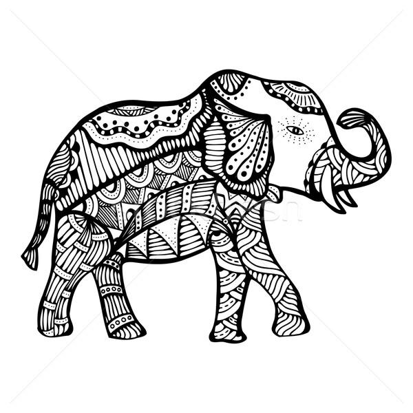 Foto stock: Elefante · rabisco · ilustração · decorado