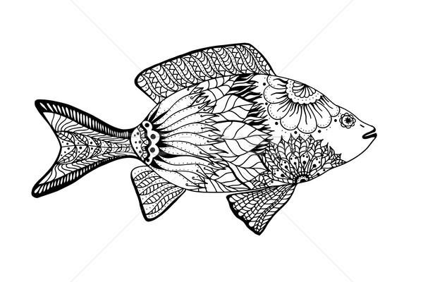 Stockfoto: Vector · vis · communie · zwart · wit