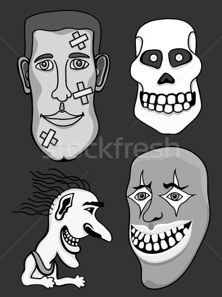 Ingesteld halloween monochroom monsters hoeden zwart wit Stockfoto © frescomovie