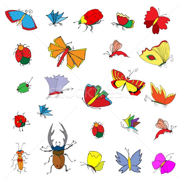 Szkic owadów zestaw wiosną Zdjęcia stock © frescomovie