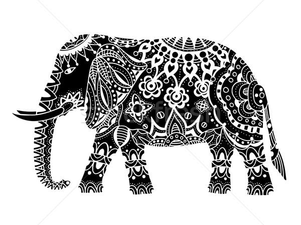Fekete indiai elefánt kézzel rajzolt firka törzsi Stock fotó © frescomovie