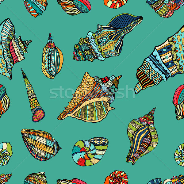 sea cockleshell seamless pattern Stock photo © frescomovie