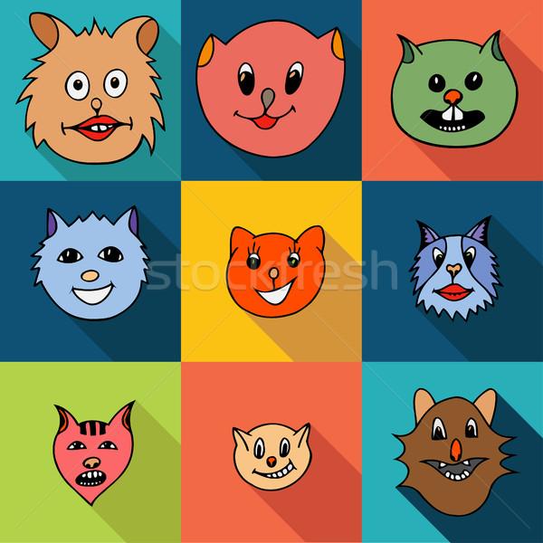 Set of cats icons Stock photo © frescomovie