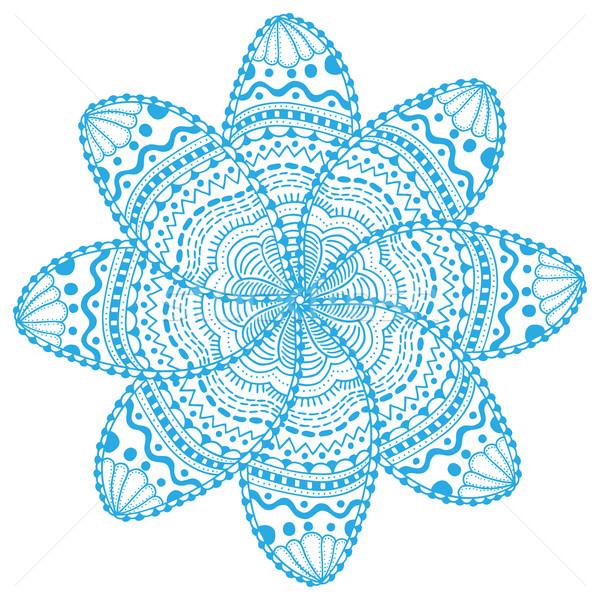 Encaje flor azul mandala ornamento Foto stock © frescomovie