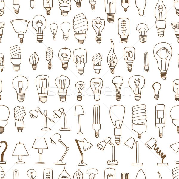 Cute vintage ampoule doodle lumière Photo stock © frescomovie