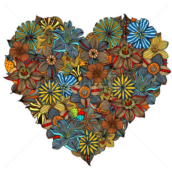 Hand gezeichnet Herz Blume Doodle Musik abstrakten Stock foto © frescomovie