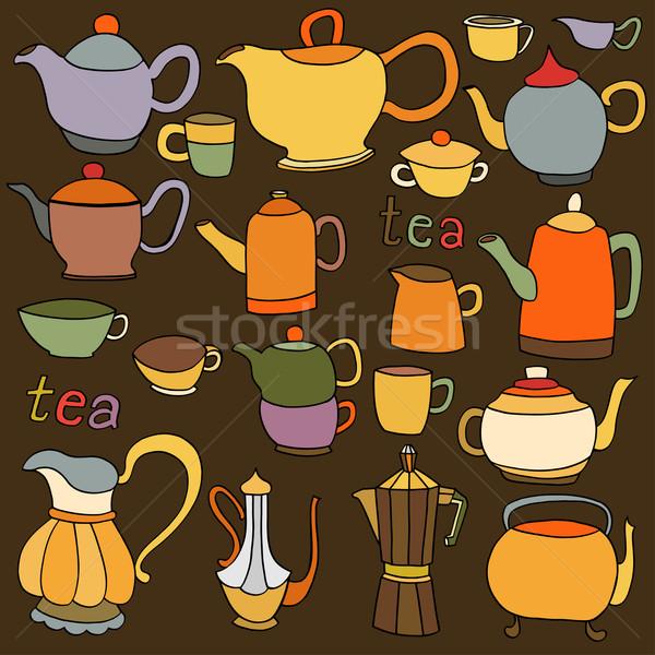 茶 コーヒー オブジェクト 手描き インク ストックフォト © frescomovie
