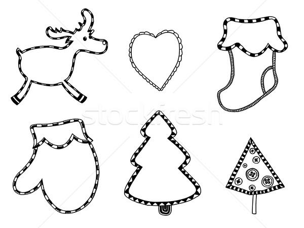 Cute Navidad pegatinas establecer monocromo aislado Foto stock © frescomovie