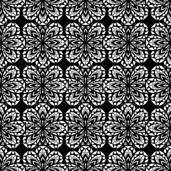 Disegno geometrico senza soluzione di continuità bianco nero abstract design tessuto Foto d'archivio © frescomovie