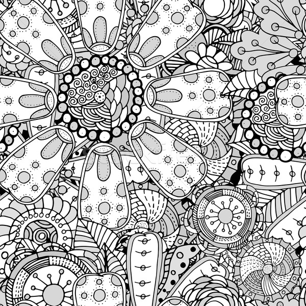 Sem costura contorno floral padrão monocromático Foto stock © frescomovie