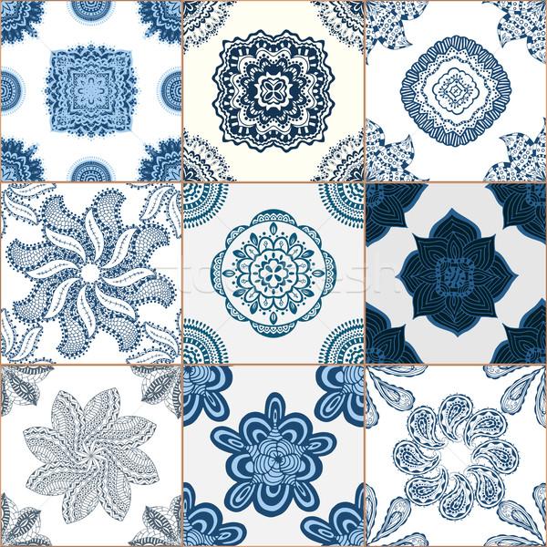 Tuiles étage ornement ensemble bleu Photo stock © frescomovie