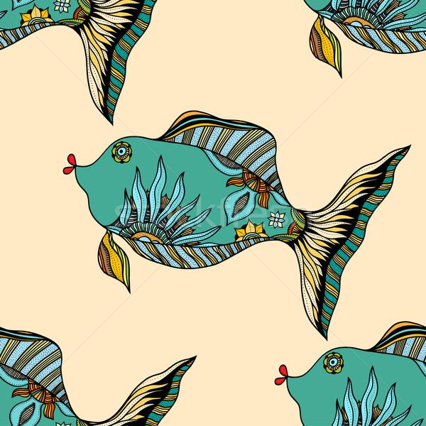 аннотация рыбы бесшовный небольшой растений рисованной Сток-фото © frescomovie