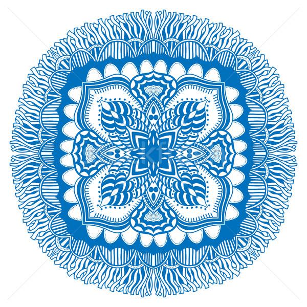 Belo azul mandala isolado branco moda Foto stock © frescomovie