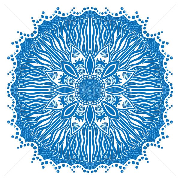 Belle bleu mandala isolé blanche mode Photo stock © frescomovie