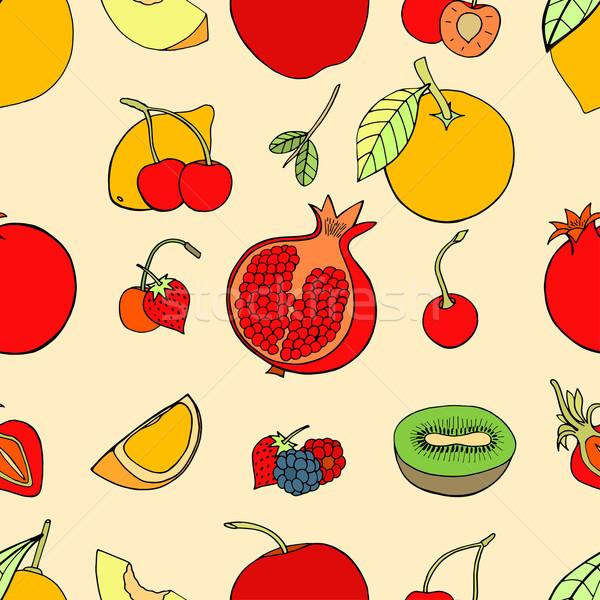 Végtelen minta gyümölcsök szett édes bogyók almák Stock fotó © frescomovie