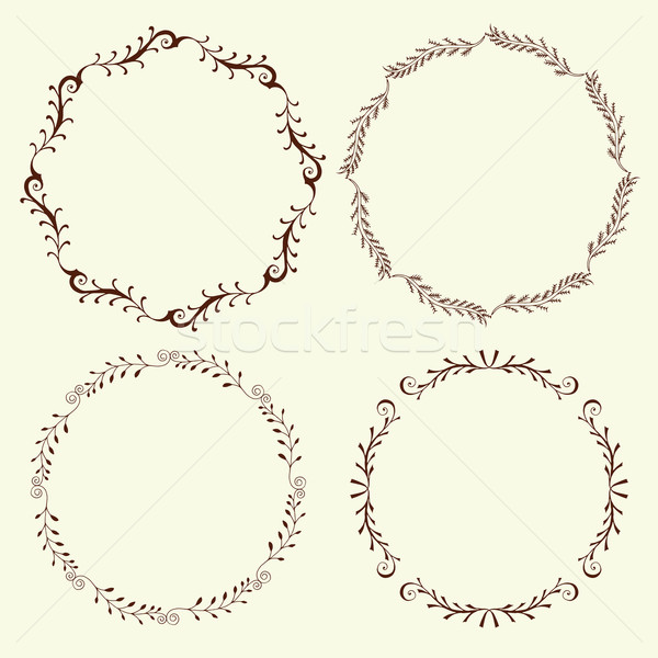 Set of 4 hand drawn frames, vector Stock photo © frescomovie