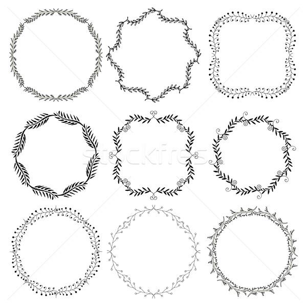 Establecer decorativo marcos dibujado a mano cuatro garabato Foto stock © frescomovie