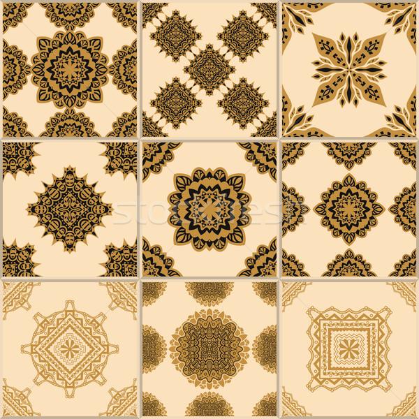 Tuiles étage ornement ensemble jaune Photo stock © frescomovie